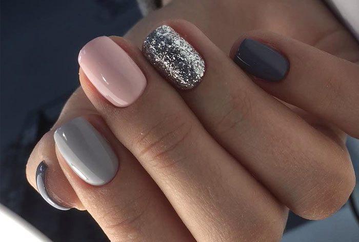 серый с розовым и серебром