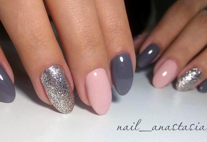 темно серый и нежно розовый с серебром