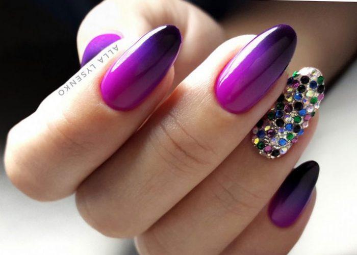 омбре и стразы фиолетовый