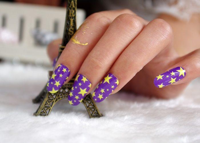 фиолетовый со звездами