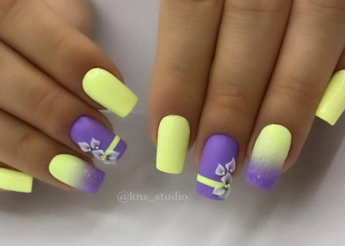желтый с фиолетовым омбре