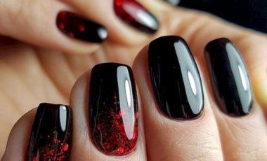 маникюр черный с красным дизайн